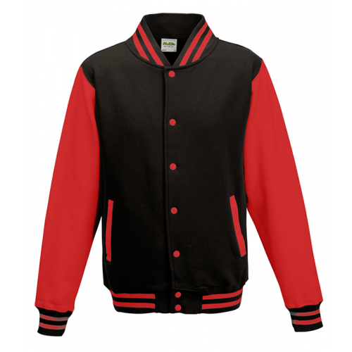 Just hoods Kids Varsity Jacket Jet Black/Fire Red