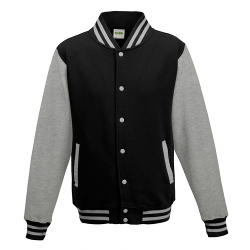 Just hoods Kids Varsity Jacket Jet Black/Heather Grey