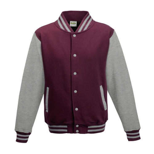 Just hoods Kids Varsity Jacket Burgundy/Heather Grey