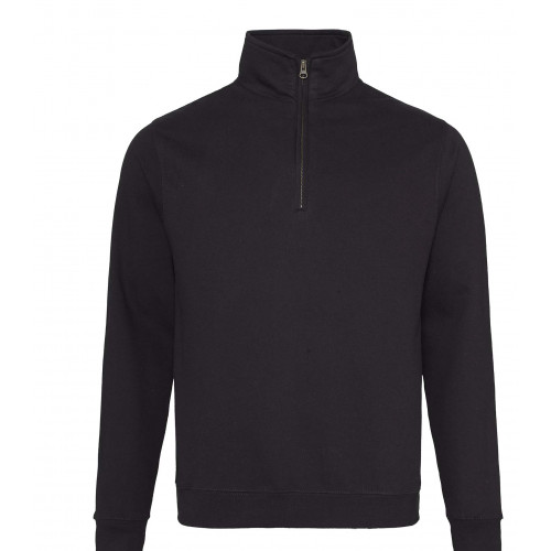 Just Hood Sophomore ¼ Zip Sweat Jet Black