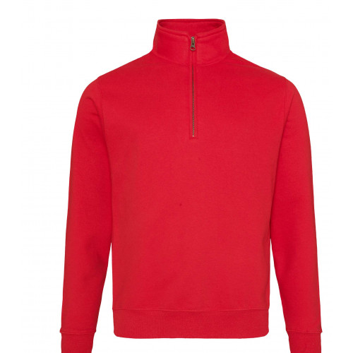 Just Hood Sophomore ¼ Zip Sweat Fire Red