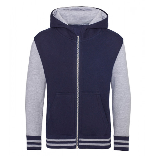 Just Hood Kids Urban Varsity Zoodie Oxford Navy/ Heather Grey