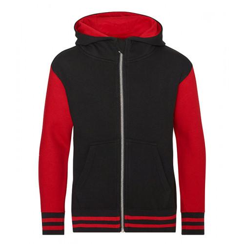 Just Hoods Kids Urban Varsity Zoodie Jet Black/ Fire Red