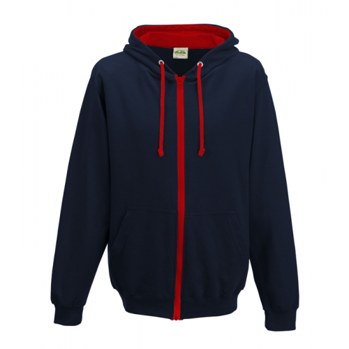 Just Hood Varsity Zoodie French Navy/Fire Red