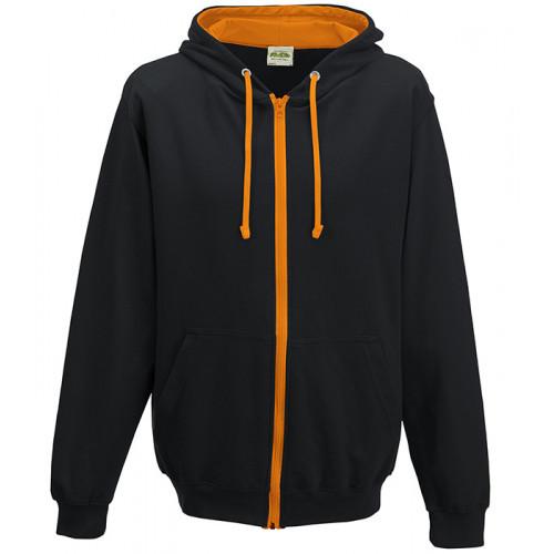 Just Hood Varsity Zoodie Jet Black/Orange Crush