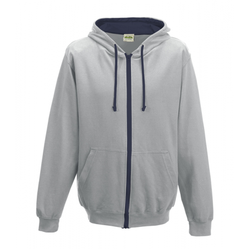 Just Hood Varsity Zoodie Heather Grey/French Navy