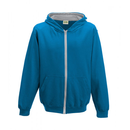 Just Hood Kids Varsity Zoodie Sapphire Blue/Heather Grey