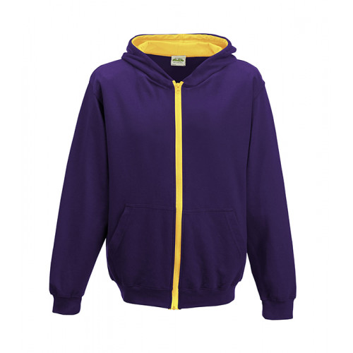 Just Hood Kids Varsity Zoodie Purple/Sun Yellow