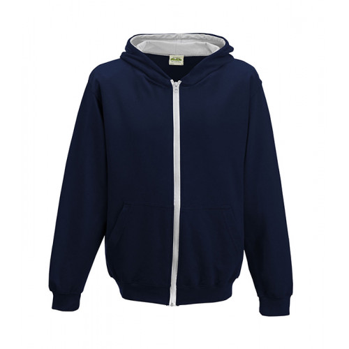 Just Hood Kids Varsity Zoodie French Navy/Heather Grey