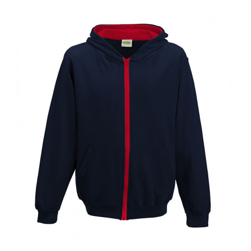 Just Hood Kids Varsity Zoodie French Navy/Fire Red