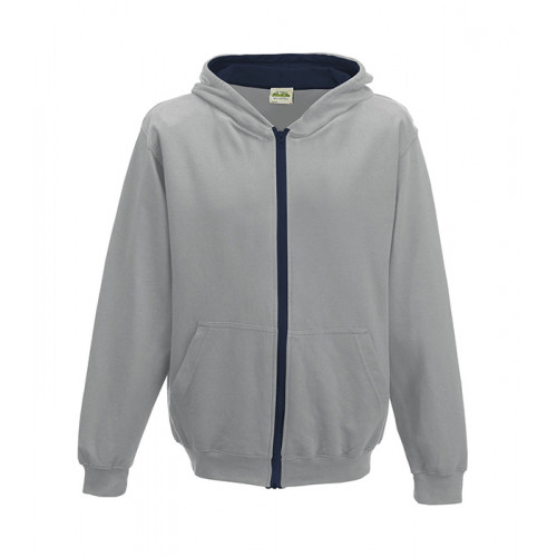 Just Hood Kids Varsity Zoodie Heather Grey/French Navy