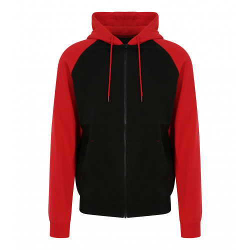 Just hoods Baseball Zoodie Jet Black/Fire Red