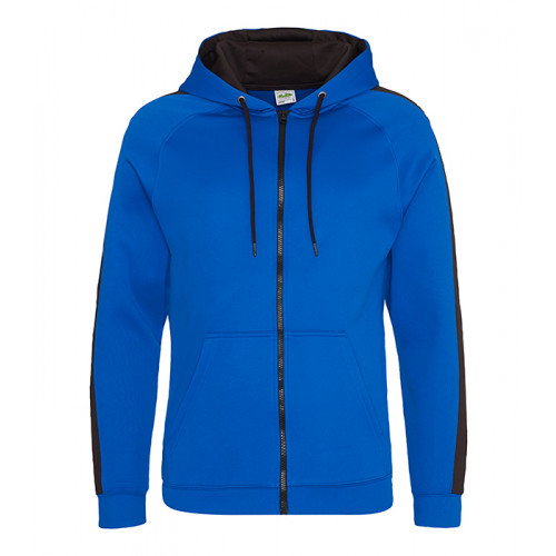 Just Hood Sports Polyester Zoodie Royal Blue/Jet Black