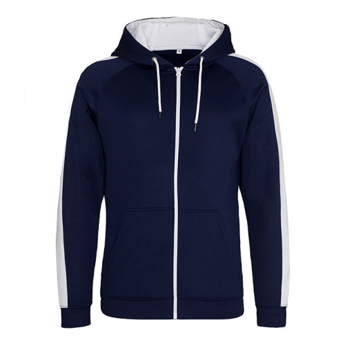 Just Hood Sports Polyester Zoodie Oxford Navy/White