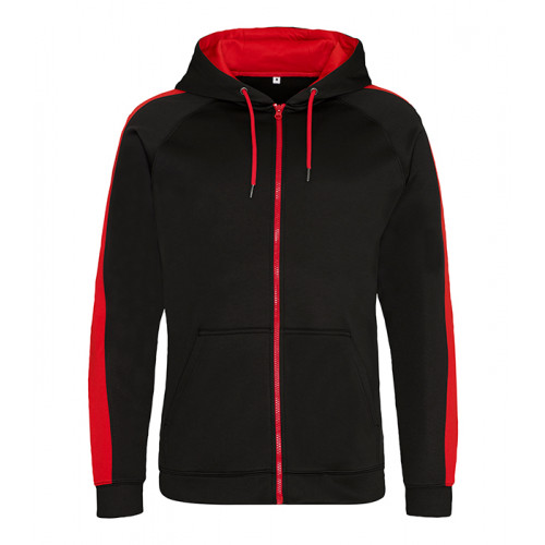 Just Hood Sports Polyester Zoodie Jet Black/Fire Red