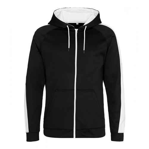 Just Hood Sports Polyester Zoodie Jet Black/Arctic White