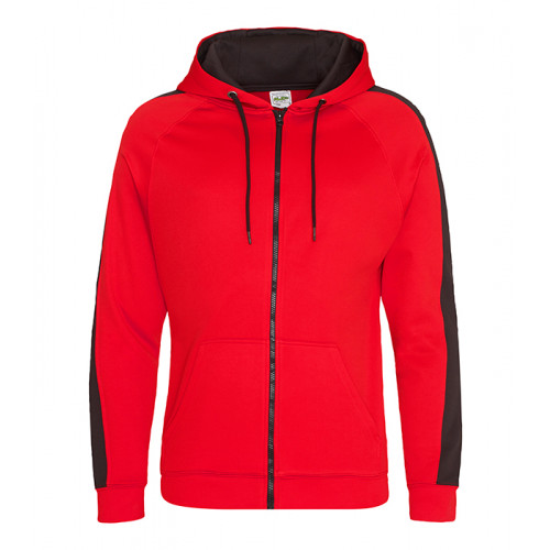 Just Hood Sports Polyester Zoodie Fire Red/Jet Black