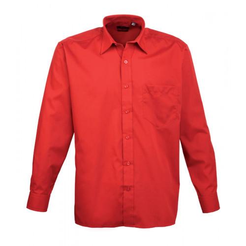 Premier Long Sleeve Poplin Shirt Red