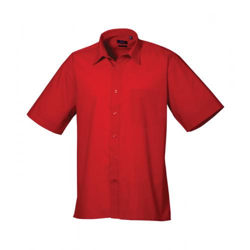 Premier Short Sleeve Poplin Shirt Red