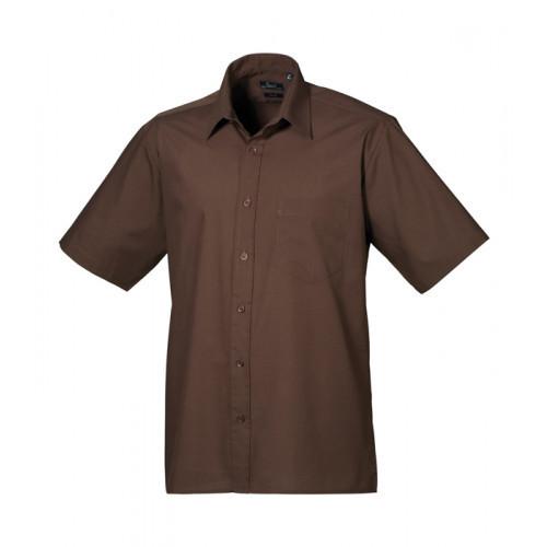 Premier Short Sleeve Poplin Shirt Brown