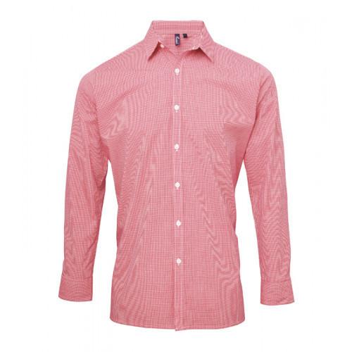Premier Men´s Microcheck Gingham LS Cotton Shirt Red/White
