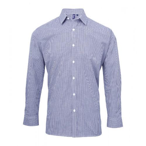 Premier Men´s Microcheck Gingham LS Cotton Shirt Navy/White