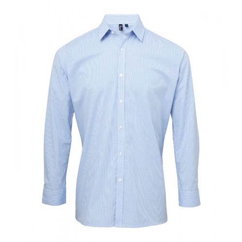 Premier Men´s Microcheck Gingham LS Cotton Shirt Light Blue/White