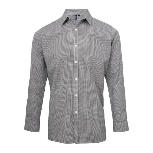 Premier Men´s Microcheck Gingham LS Cotton Shirt Black/White