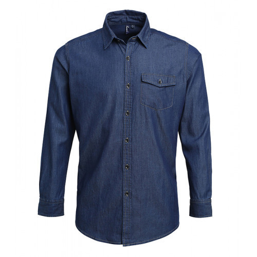 Premier Jeans stitch denim shirt Indigo Denim
