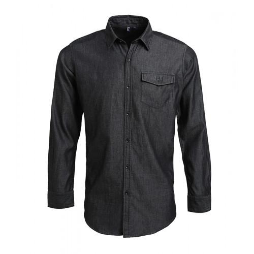Premier Jeans stitch denim shirt Black Denim