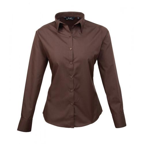 Premier Women´s Poplin Long Sleeve Blouse Brown