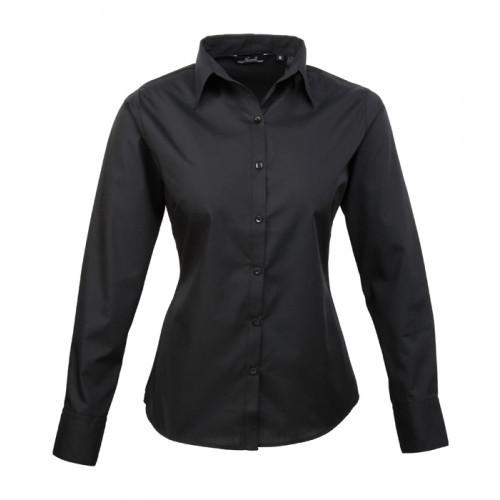 Premier Women´s Poplin Long Sleeve Blouse Black