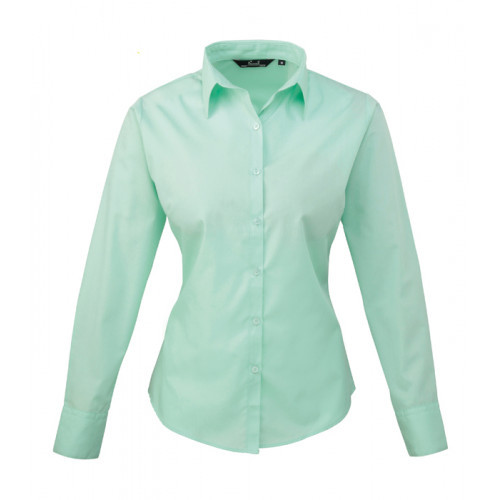 Premier Women´s Poplin Long Sleeve Blouse Aqua