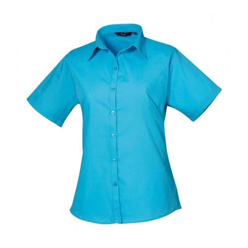 Premier Women´s Poplin Short Sleeve Blouse Turquoise