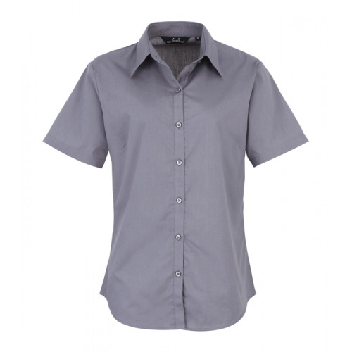 Premier Women´s Poplin Short Sleeve Blouse Steel