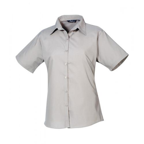 Premier Women´s Poplin Short Sleeve Blouse Silver