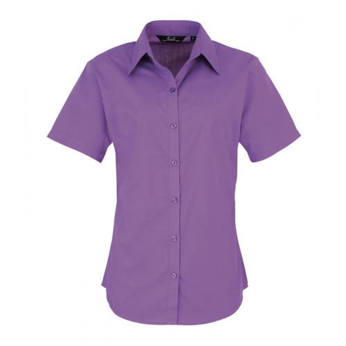 Premier Women´s Poplin Short Sleeve Blouse Rich Violet