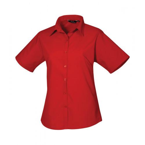 Premier Women´s Poplin Short Sleeve Blouse Red