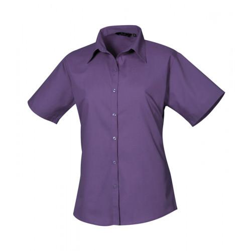 Premier Women´s Poplin Short Sleeve Blouse Purple