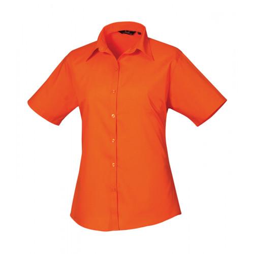 Premier Women´s Poplin Short Sleeve Blouse Orange
