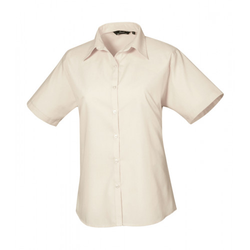 Premier Women´s Poplin Short Sleeve Blouse Natural