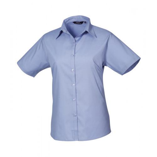 Premier Women´s Poplin Short Sleeve Blouse Mid Blue