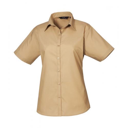 Premier Women´s Poplin Short Sleeve Blouse Khaki
