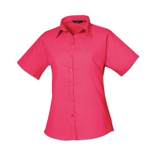Premier Women´s Poplin Short Sleeve Blouse Hot Pink