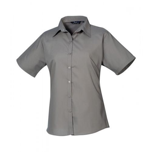 Premier Women´s Poplin Short Sleeve Blouse Dark Grey