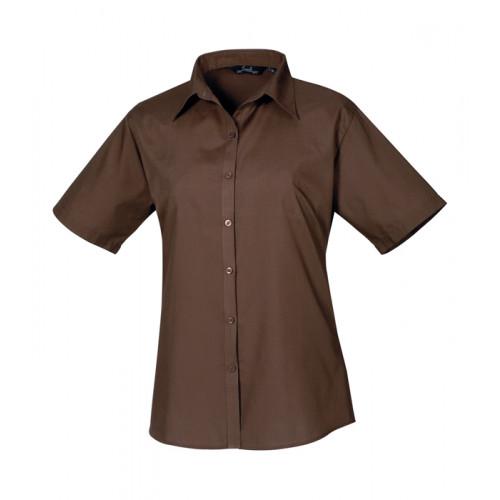 Premier Women´s Poplin Short Sleeve Blouse Brown