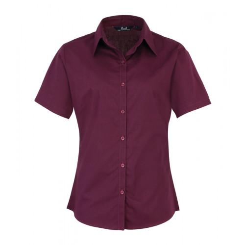 Premier Women´s Poplin Short Sleeve Blouse Aubergine