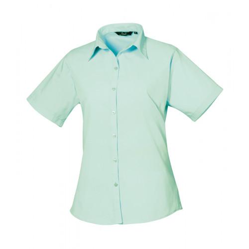 Premier Women´s Poplin Short Sleeve Blouse Aqua