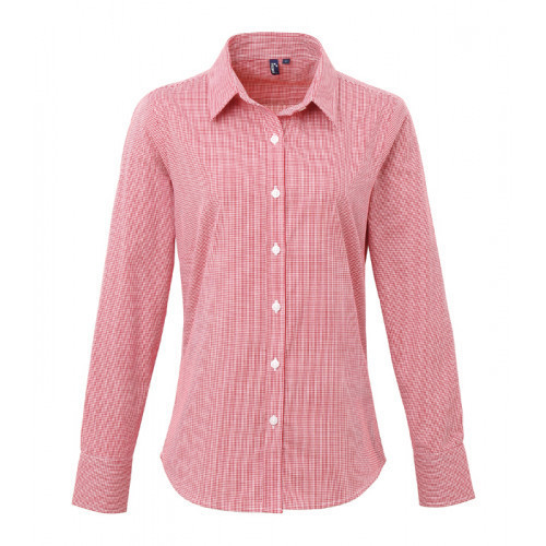 Premier Ladies Microcheck Gingham LS Cotton Shirt Red/White