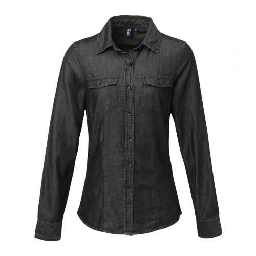 Premier Ladies Jeans Stitch Denim Shirt Black Denim